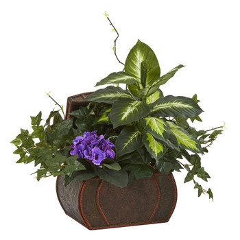 African Violet Mix Greens Artificial Plant in Decorative Chest - SKU #8079-PP