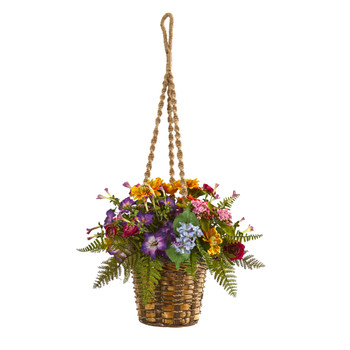 Mixed Floral Artificial Plant in Hanging Basket - SKU #8080