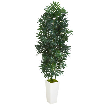 5 Bamboo Palm Artificial Plant in White Planter - SKU #8083
