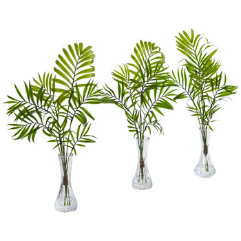 Mini Palm Artificial Plant in Vase Set of 3 - SKU #8086-S3