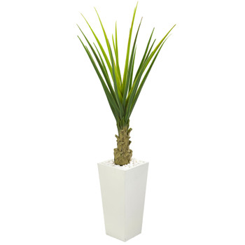 5 Agave Artificial Plant in White Planter - SKU #8087