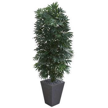 5.5 Double Bamboo Palm Artificial Plant in Slate Finished Planter - SKU #8088