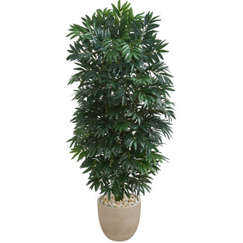 5 Double Bamboo Palm Artificial Plant in Sandstone Planter - SKU #8089