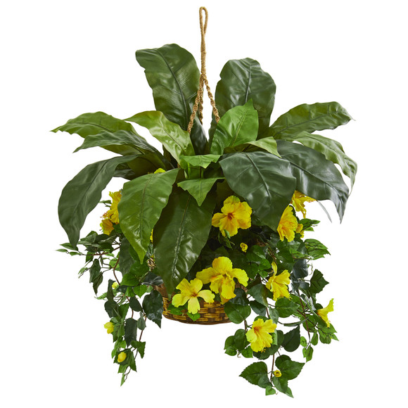 Birds Nest Hibiscus Artificial Plant Hanging Basket - SKU #8108