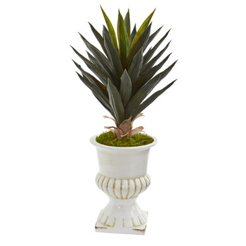 Agave Artificial Plant in White Urn - SKU #8111