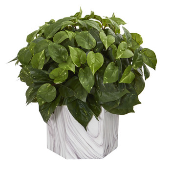Pothos Artificial Plant in Marble Finished Vase - SKU #8133