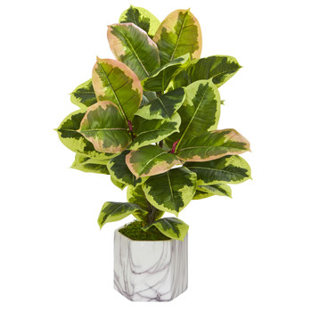 Rubber Leaf Artificial Plant in Marble Finished Vase Real Touch - SKU #8137