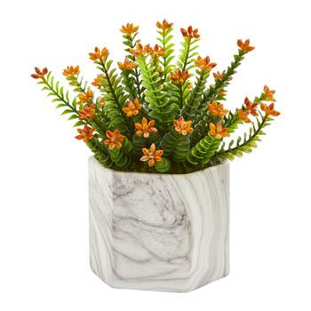 Flowering Sedum Artificial Plant in Marble Vase - SKU #8140