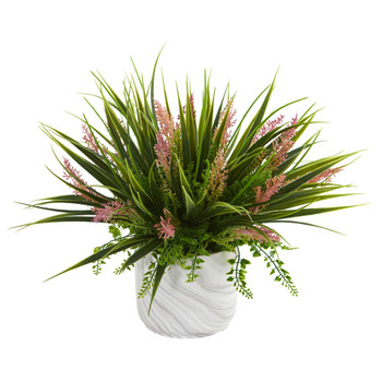 Grass and Fern Artificial Plant in Marble Finished Vase - SKU #8141
