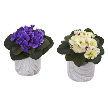 African Violet Artificial Plant in Marble Vase Set of 2 - SKU #8148-S2-AS