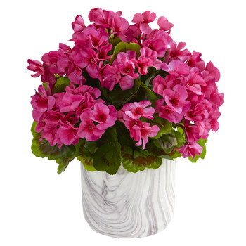 Geranium Artificial Plant in Marble Finished Vase UV Resistant Indoor/Outdoor - SKU #8149