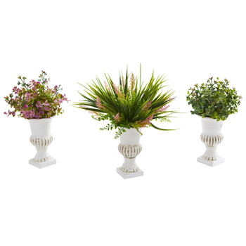 Eucalyptus and Grass Artificial Plant in White Urn Set of 3 - SKU #8150-S3