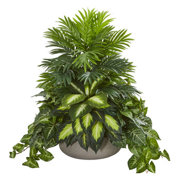Mixed Greens Artificial Plant in Stone Planter - SKU #8151