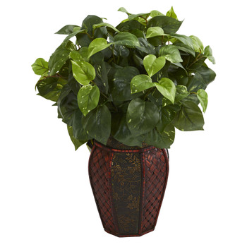 Pothos Artificial Plant in Decorative Planter - SKU #8154