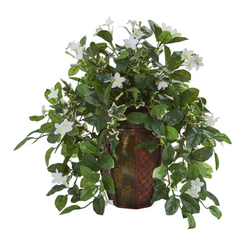Stephanotis and Ivy Artificial Plant in Decorative Planter - SKU #8155