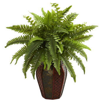 Boston Fern Artificial Plant in Decorative Planter - SKU #8157