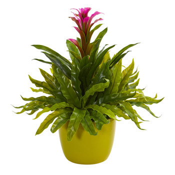 Bromeliad and Fern Artificial Plant in Green Vase - SKU #8166-PP