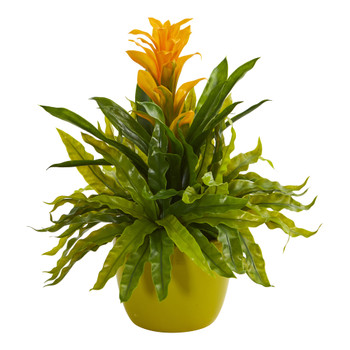 Bromeliad and Fern Artificial Plant in Green Vase - SKU #8166-YL