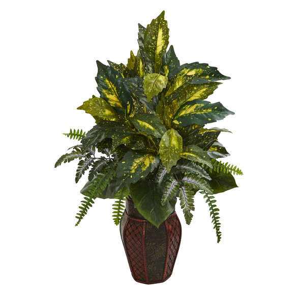 Mixed Greens Artificial Plant in Decorative Planter - SKU #8168