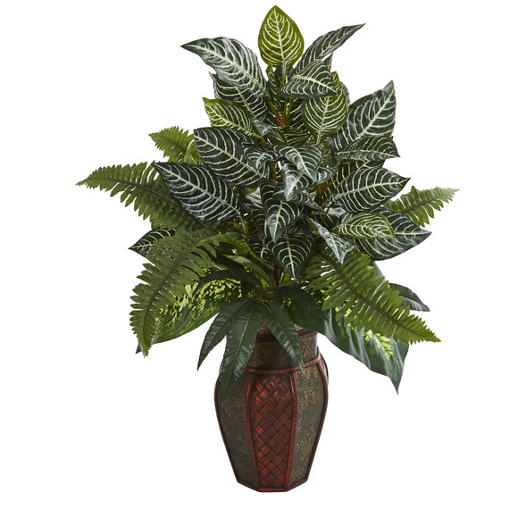 Mixed Greens Artificial Plant in Decorative Planter - SKU #8169