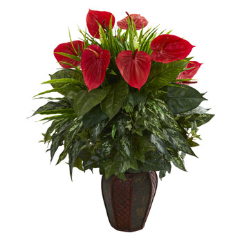 Mixed Anthurium Artificial Plant in Decorative Planter - SKU #8170-GR