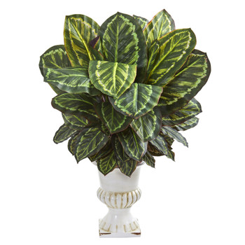 Maranta Artificial Plant in White Urn - SKU #8171