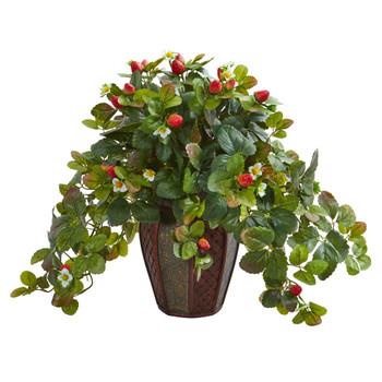 Strawberry Artificial Plant in Decorative Planter - SKU #8172