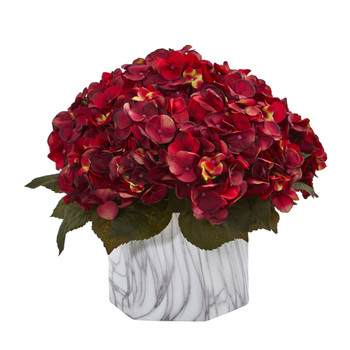 Fall Hydrangea Artificial Plant in Marble Finished Vase - SKU #8177