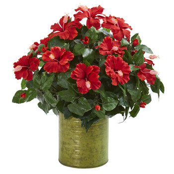 Hibiscus Artificial Plant in Metal Planter - SKU #8178