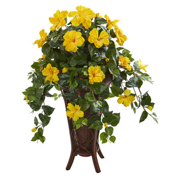 Hibiscus Artificial Plant in Stand Planter - SKU #8181