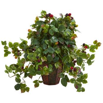 Raspberry Artificial Plant in Decorative Planter - SKU #8184