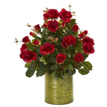 Garden Rose Artificial Arrangement in Metal Planter - SKU #8186