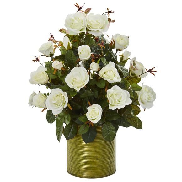 Garden Rose Artificial Arrangement in Metal Planter - SKU #8186-WH