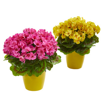 Geranium Artificial Plant in Ceramic Vase UV Resistant Indoor/Outdoor Set of 2 - SKU #8189-S2