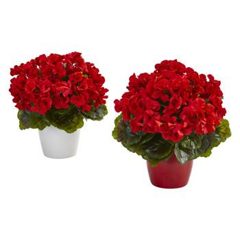 Geranium Artificial Plant in Ceramic Vase UV Resistant Indoor/Outdoor Set of 2 - SKU #8189-S2