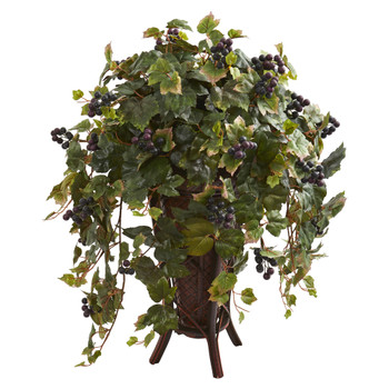 Grape Leaf Artificial Plant in Stand Planter - SKU #8191