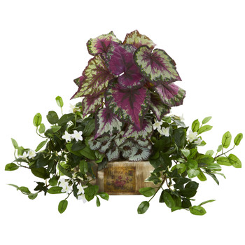 Begonia Stephanotis Artificial Plant in Decorative Planter - SKU #8192