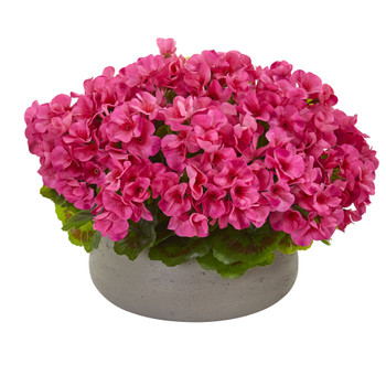 Geranium Artificial Plant in Stone Planter UV Resistant Indoor/Outdoor - SKU #8193