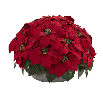 Poinsettia Artificial Plant in Stone Planter - SKU #8194