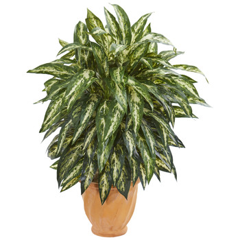 Aglonema Artificial Plant in Terra Cotta Planter - SKU #8195