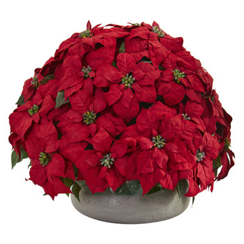 Large Poinsettia Artificial Plant in Stone Planter - SKU #8196