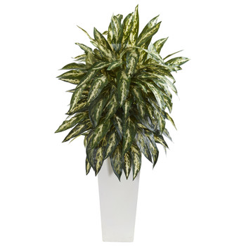 Aglonema Artificial Plant in White Planter - SKU #8197