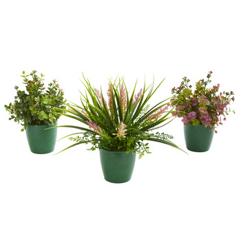 Eucalyptus Grass and Sedum Artificial Plant in Green Planter Set of 3 - SKU #8200-S3