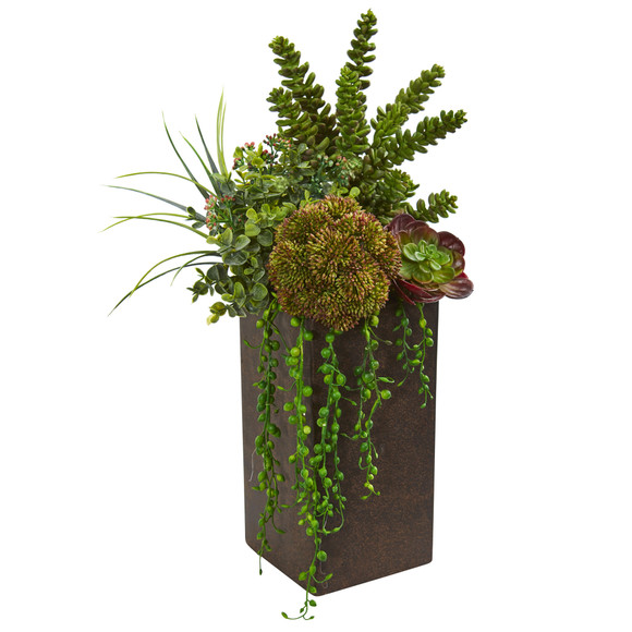Succulent Artificial Plant in Brown Planter - SKU #8202