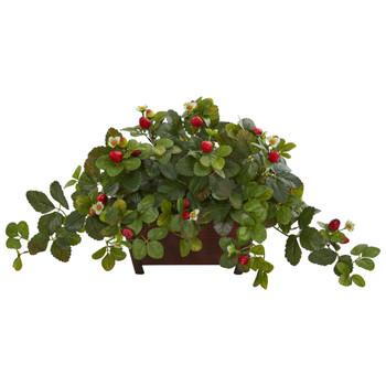 Strawberry Artificial Plant in Decorative Planter - SKU #8211