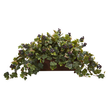 Grape Leaf Artificial Plant in Decorative Planter - SKU #8220