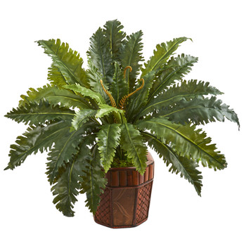 Marginatum Artificial Plant in Bamboo Finished Planter - SKU #8223
