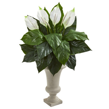 Spathifyllum Artificial Plant in Sand Colored Urn - SKU #8238