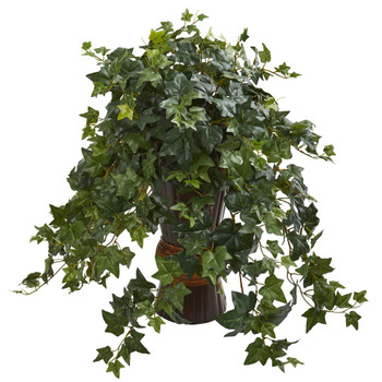 Ivy Artificial Plant in Bamboo Planter - SKU #8240