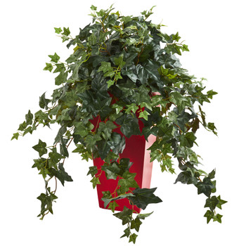 Ivy Artificial Plant in Red Planter - SKU #8241